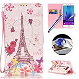 Galaxy Note 5 Leather Case,Samsung Galaxy Note 5 Wallet Case,Etsue Retro Tower Flower Pattern Pu Leather Strap Wallet Flip Case Cover with Stand and Card Slots for Samsung Galaxy Note 5+Blue Stylus Pen+Bling Glitter Diamond Dust Plug(Colors Random)-Tower Flower