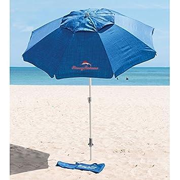 Tommy Bahama - Sombrilla azul con ancla de arena 2, 1 m de diámetro y 2, 45 m de altura: Amazon.es: Jardín