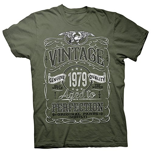 40th Birthday Gift Shirt - Vintage Aged to Perfection 1979 - Military-002-Sm (Christmas Gift Ideas For 40 Year Old Man)