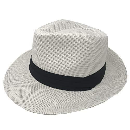 Pro.fashion Stylish Classic Straw Unisex Panama Hat with Band, 2-inch Wide Brim, Fedora Summer Beach Sun Cap UPF50+ UV Protection Mens Womens Safari (L/XL, White) ()