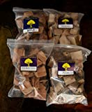 J.C.'s Smoking Wood Chunks - Premium 4 PK Gallon Sized bag of Apple, Hickory, Pecan, Wild Black Cherry