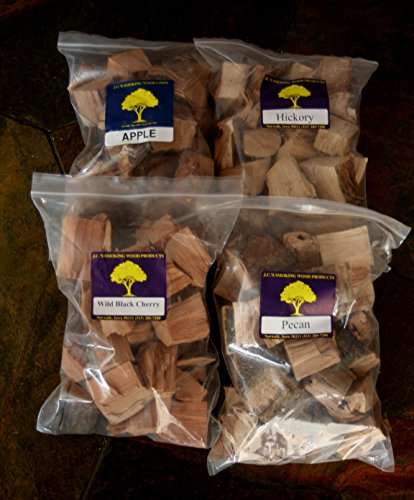 (J.C.'s Smoking Wood Chunks - Premium 4 PK Gallon Sized bag of Apple, Hickory, Pecan, Wild Black Cherry)