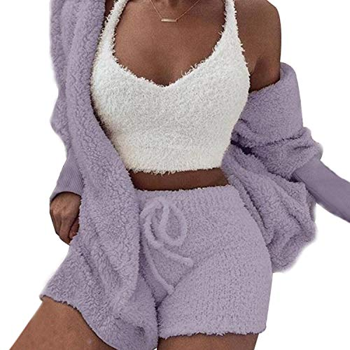 Womens Sexy Fuzzy Warm Sherpa Fleece 3 Piece Outfit Fleece Coat Jacket Outwear and Spaghetti Strap Crop Top Shorts Set (Purple, L)