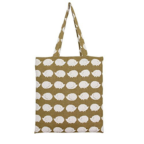 Caixia Women's Cotton Cute Hedgehog Print Canvas Tote Shopping Bag Khaki - Hedgehog Print