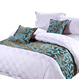 yazi Luxury Bedding Runner Cotton Decorative Bed End Scarf for Bedroom Hotel Wedding Room Acacia Leaf 19x94 Inch