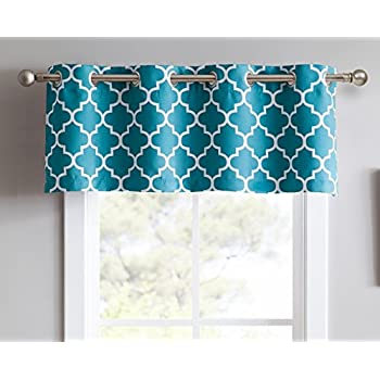ME Lattice Print Thermal Grommet Blackout Valance For Windows