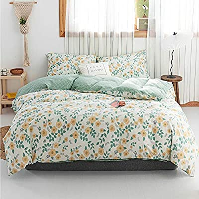 HIGHBUY Kids Flowers Duvet Cover Set Twin Soft Cotton Boho Floral Bedding Sets Green Twin Size Single 3 CPS Duvet Cover Set with 2 Pillowcases for Teens Children Twin Bedding: Home & Kitchen