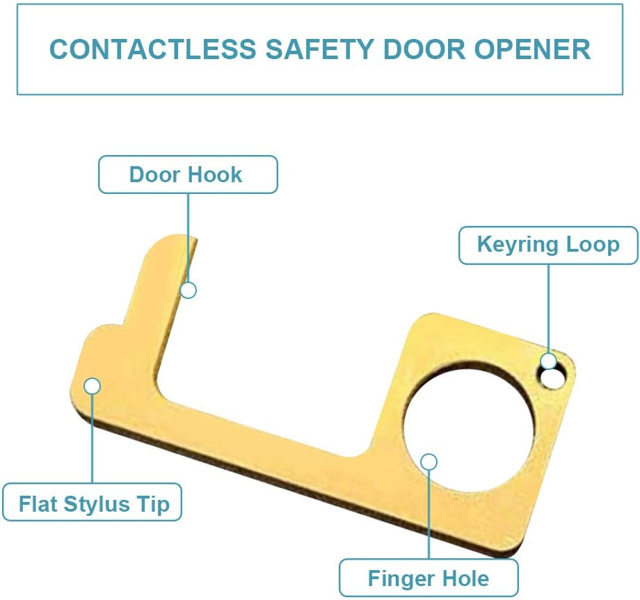 portable pour une protection polyvalente r/éutilisable appuyez sur le bouton dascenseur poign/ée de porte en laiton sans contact outil de stylet plus proche 2pcs ouvre-porte de s/écurit/é sans contact