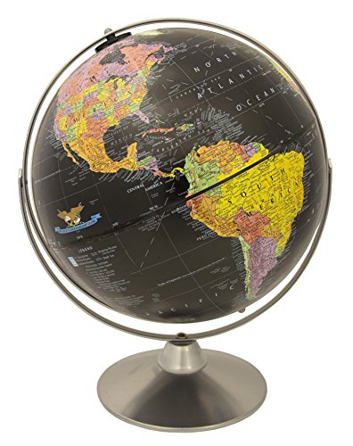 Replogle Starlight, Black Ocean World Globe, Desktop Piece, Gyro-matic meridian, Silver base, Detailed Cartography ()