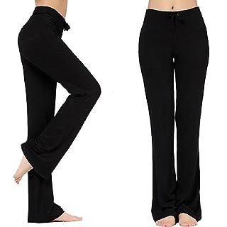 TownCat Women's Loose Modal Comfy Straight Yoga Pants (XL, Black)