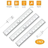 Motion Sensor Closet Light Under Cabinet Lighting USB Rechargeable,Wireless Night light Bar,Portable Cordless 10 LED Strip Lights,Cupboard/Wardrobe/Drawer/stairs Safe Lamp,Stick Anywhere With Magnetic