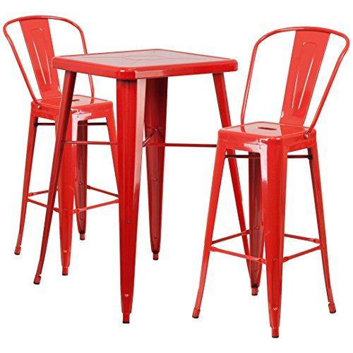 MFO 23.75'' Square Red Metal Indoor-Outdoor Bar Table Set with 2 Barstools with Backs