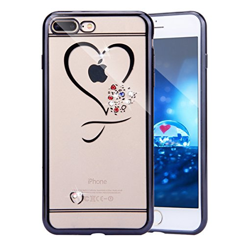 iPhone 8 Case,iPhone 7 Case, iPhone 7 Love Heart Bling Case, PHEZEN Bling Crystal Rhinestone Diamonds Plating Frame Transparent Soft TPU Silicone Bumper Case Cover for 4.7 inch iPhone 7, Black Bumper