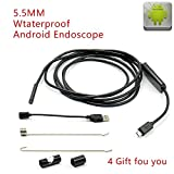Endoscope,Mastool 6 LED Diameter 5.5mm Lens 720P Android Endoscope HD USB Endoscope IP67 Waterproof Inspection Borescope Tube Camera 1M/1.5M/2M/3.5M Length Borescope Pipe Snake Camera (3.5M)