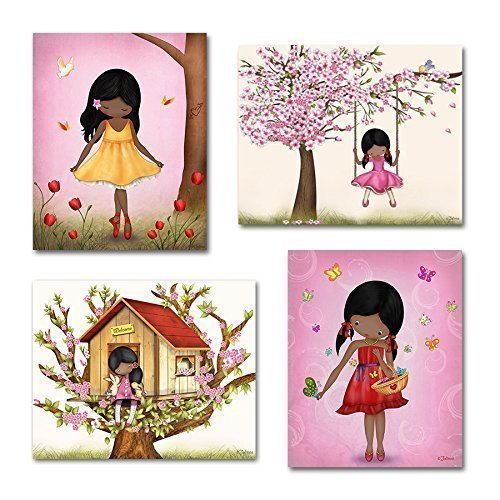 Twins Framed Print Set - African American Girl Set of 4 Wall Art Prints Pink Room Decoration Unframed Posters 8x10/11x14 Custom Hair and Skin Color