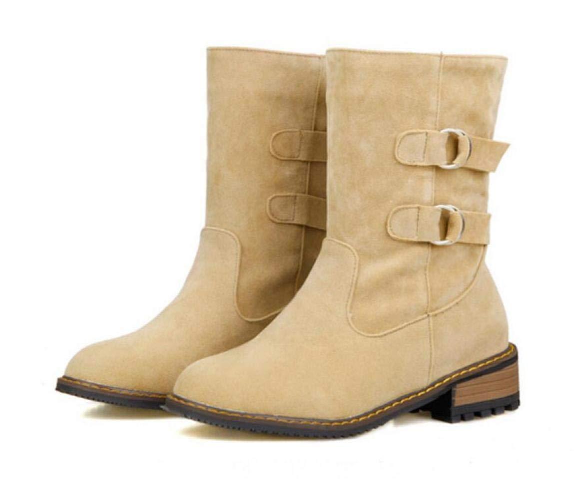 ZHRUI Stivali da Donna - Stivali Stivali Stivali Autunno e Inverno Martin Stivali con Tacco Stivaletti con Tacco Basso Stivali da Donna di Grandi Dimensioni 34-43 (colore   Buff, Dimensione   42) 305f56