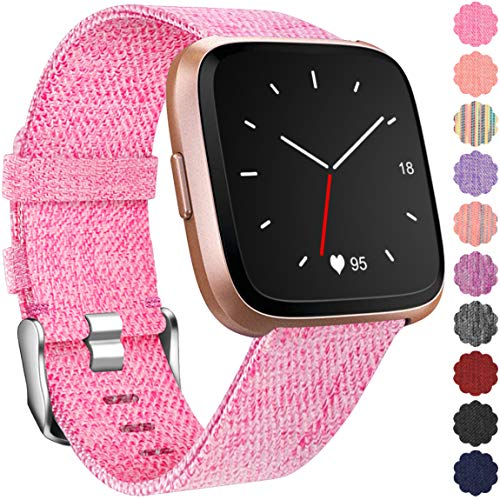 Maledan Replacement for Fitbit Versa Bands, Canvas Strap with Stainless Steel Clasp Accessories Wristbands for Versa, Women Men, Small, Pink ()