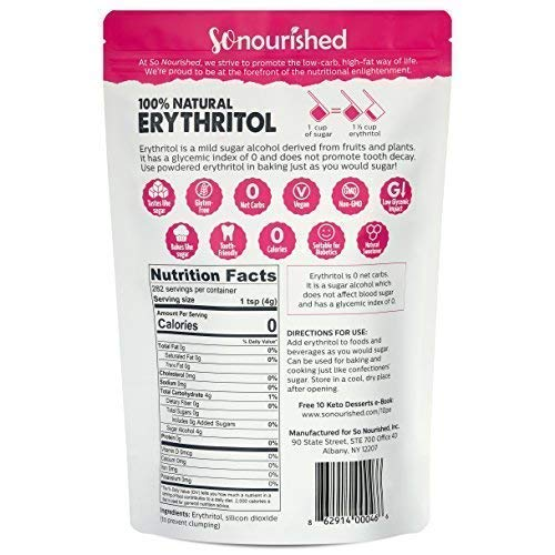 Powdered Erythritol Sweetener (2.5 lb / 40 oz) - Confectioners - No Calorie Sweetener, Non-GMO, Natural Sugar Substitute (2.5 Pounds)