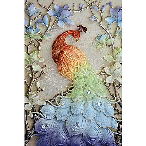 Diy 5D Diamond Painting By Number Kits Full Drill Rhinestone Embroidery Cross Stitch Pictures Arts Craft For Home Wall Decor, Blue Green Peacock, 11.8 X 15.7 Inch(Frameless) ()