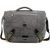 BAGSMART Camera Messenger Shoulder Bag for SLR/DSLR Cameras & 15.6 Macbook Pro 15.5L, Grey