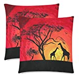 InterestPrint Animal Pillowcase Protector 18x18 Twin Sides, Giraffe Sunset in Africa Landscape Zippered Pillow Case Covers Decorative, Set of 2