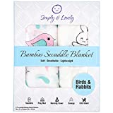 #4: Simply and Lovely Bamboo Muslin Swaddle Blankets for Baby Girl or Boy   2 Pack Large 47x47 Inch   Super Soft, Smooth, Stretchy and Breathable   Birds & Rabbits Gender Neutral   Nursery Shower Gift Set