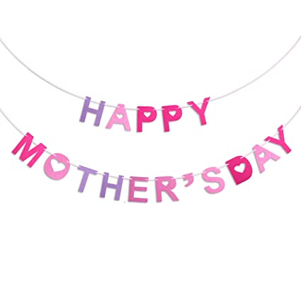 OULII Mothers Day Banners HAPPY MOTHERS DAY Capitalized Letter And Hearts Cutouts Bunting Garland Decoration