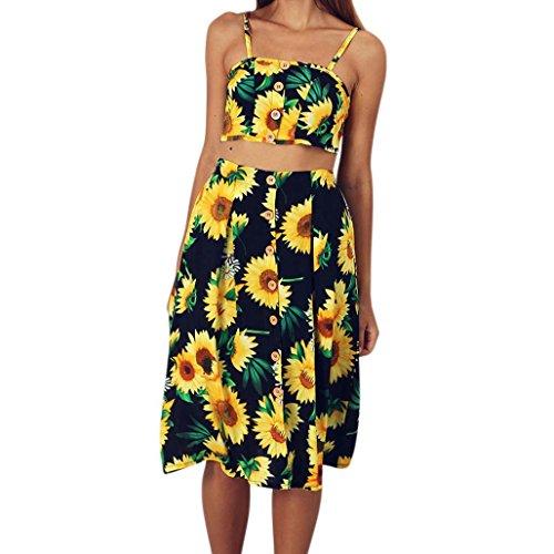 Women Rompers Summer Dress Beach Evening Party Print Tank Two-Piece Sling Skirt Sets (Clothes Set Dot Yellow Capri)