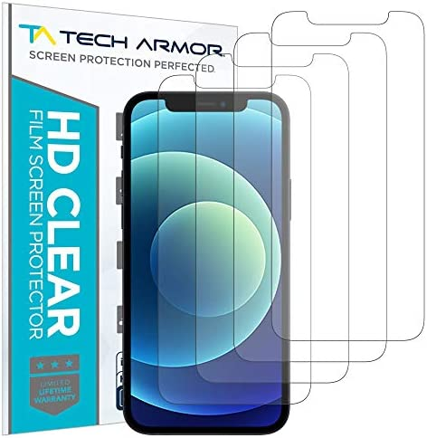 Tech Armor HD Clear Plastic Film Screen Protector (NOT Glass) for Apple NEW iPhone 12 (6.1″) and iPhone 12 Pro (6.1″) – Case-Friendly, Scratch Resistant, Haptic Touch Accurate [4-Pack]