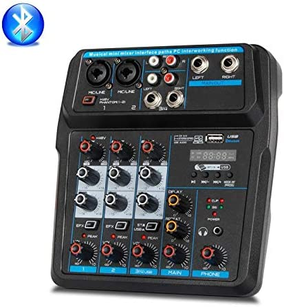 Mix Console with Bluetooth Record 48V Phantom Power 4 Channels Audio Mixer USB X