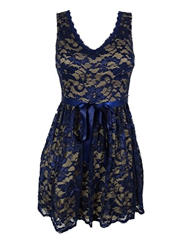 Bee Darlin Sleeveless Lace Fit & Flare Dress, Navy/Nude (9/10)