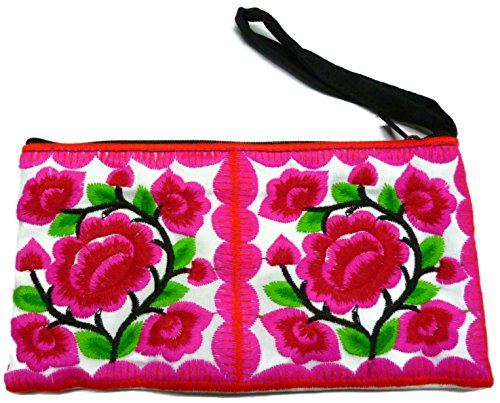 New Handmade Clutch Bags Purse Hmong Embroidered Fabric Wristlet Handbags (Embroidered Shoulder Messenger Bag)