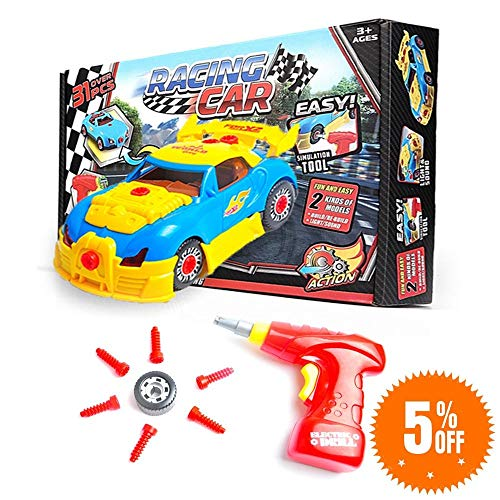 Take Apart Toy Race Car for Toddlers, Build A Car Kit for Mini Mechanics, Sports Activity Kit for Kids: Boys and Girls, Racing Car with 30 Pcs., Electric Tool Screwdriver, and Real Sounds and Lights
