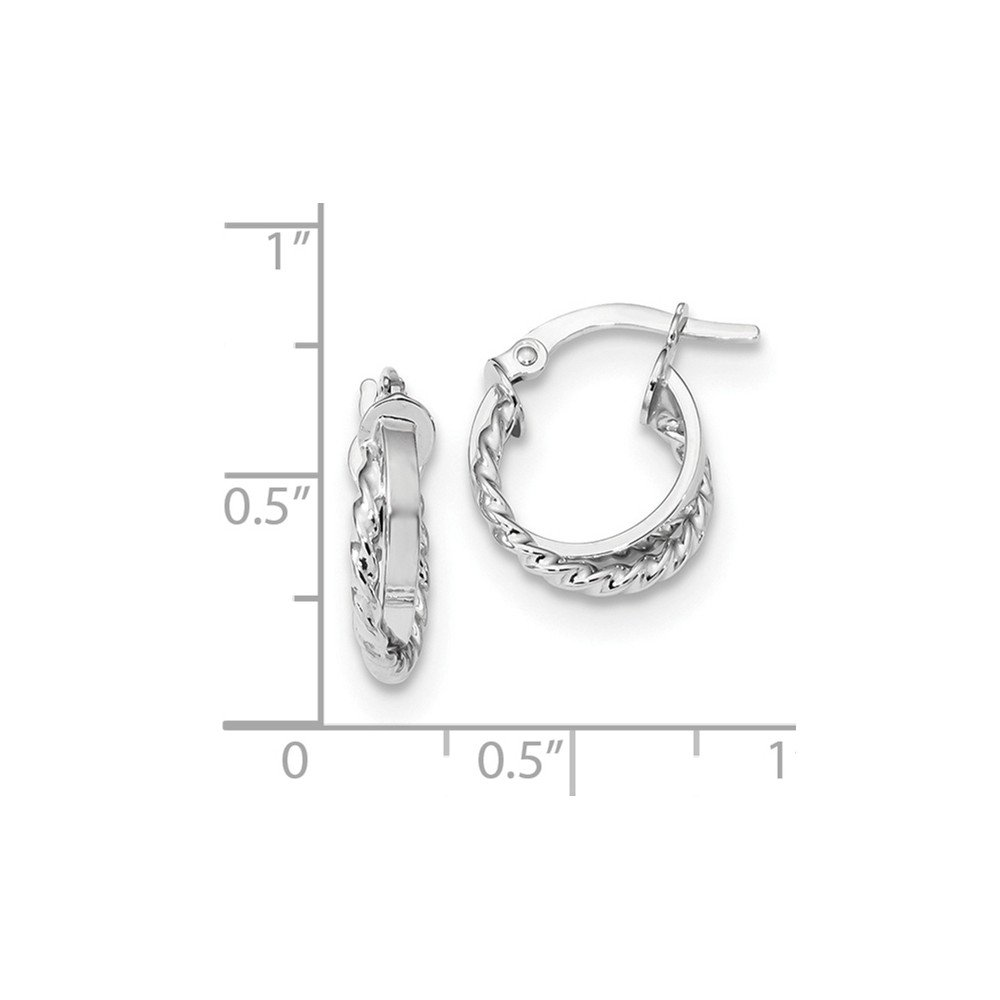 Mia Diamonds 14K White Gold Polished and Textured Hinged Hoop Earrings