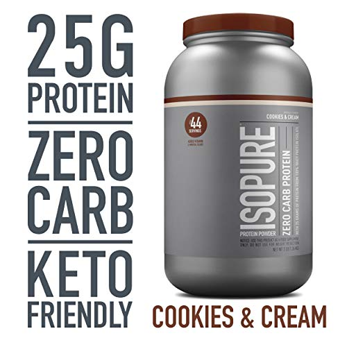 Isopure Zero Carb, Keto Friendly Protein Powder, 100% Whey Protein Isolate, Flavor: Cookies & Cream, 3 Pounds (Packaging May Vary)