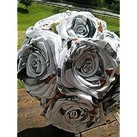 Snow White Camo Flower Single Stem DIY Bridal Build A Bouquet Camouflage Wedding Rose Centerpiece