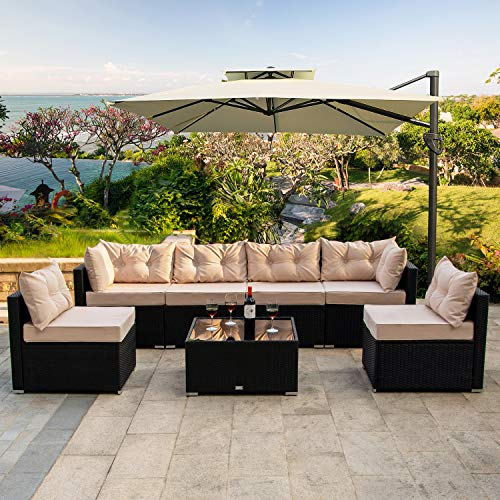 Amooly 7 Pieces Patio PE Rattan Sofa Set Outdoor Sectional Furniture Wicker Chair Conversation Set with Cushions and Tea Table ()