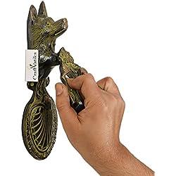 CraftVatika Antique Finish Wolf Brass Door Knocker Door Handle Vintage Style Door Knob Home Decor