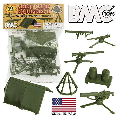 BMC Classic PLASTIC ARMY MEN Playset Accessories - 10pc Military Camp - US Made ()