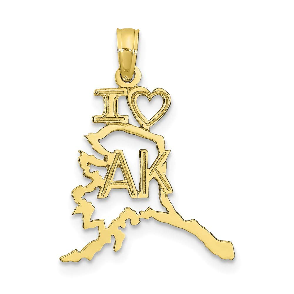10k Yellow Gold Solid Alaska State Pendant