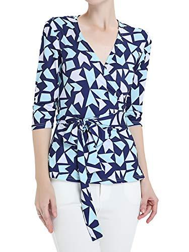 - FAIRY COUPLE Women's Wrap Tops Geometric Print Blouse Shirt V-Neck 3/4 Sleeve S Blue Triangle