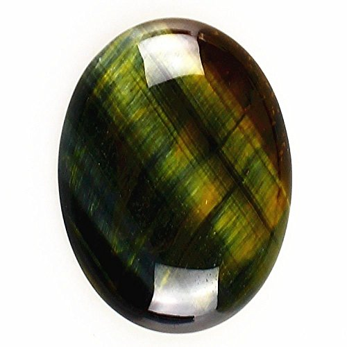 Oval Gemstone - 40x30mm Oval Cabochon CAB Flatback Semi-precious Gemstone Ring Face (Green Tiger eye)