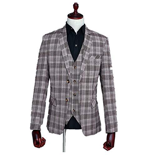 Birdfly Men Fashion Stripted Captain Performance Presenter Costume Formal Suit (L, Plaid) ()