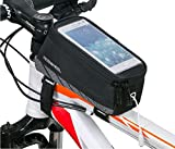 Cycling Bike Bicycle Handlebar Frame Pannier Front Top Tube Bag Pack Rack X Large Waterproof for Iphone 6 6 Plus Samsung 5.5/4.8 Inch Mobile Cell Phone-Black