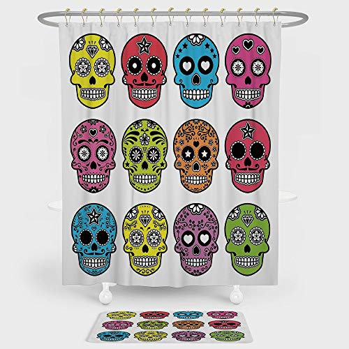 Skull Shower Curtain And Floor Mat Combination Set Ornate Colorful Traditional Mexian Halloween Skull Icons Dead Humor Folk Art Print For decoration and daily use Multi