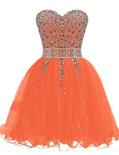 Dresstells®Vestido De Fiesta Corto Princesa Atractivo Con Cuentas Naranja