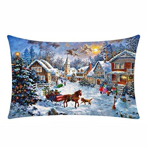 Hot Sale!!! Happy Christmas Pillow Cases,Jushye Ladies Merry Christmas Pillow Cases Cotton Linen Sofa Cushion Cover Home Decor 11.8