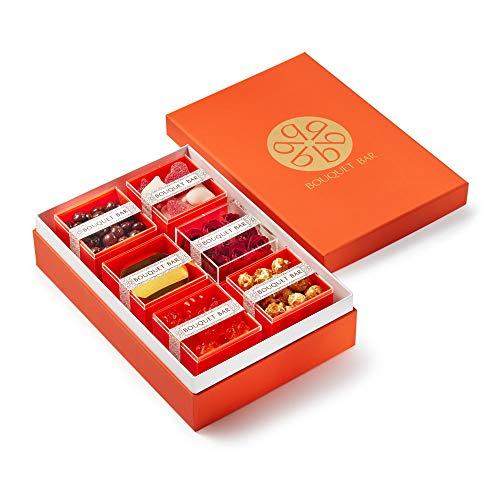 BOUQUET BAR - Love Affair/Lavender Chocolate Drops/Sugar Coated Sour Gummy Hearts/Red Spray Roses/Lavender Candle/Orange Burst Gummy Bears/Old-Fashioned Caramel Corn