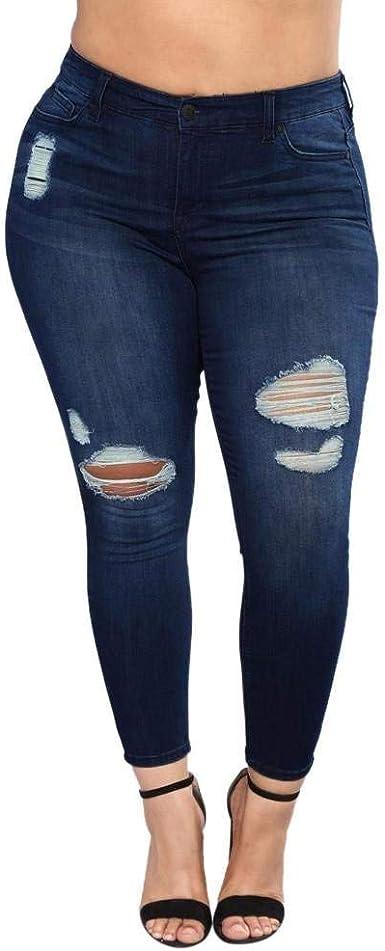 Lanceyy Pantalones De Mezclilla Rasgados Para Mujer Pantalones De Mezclilla De Sencillos Moda Pantalones De Mezclilla Flacos De Cintura Alta Pantalones De Agujero De Talla Grande Pantalones Estilo Amazon Es Ropa Y Accesorios