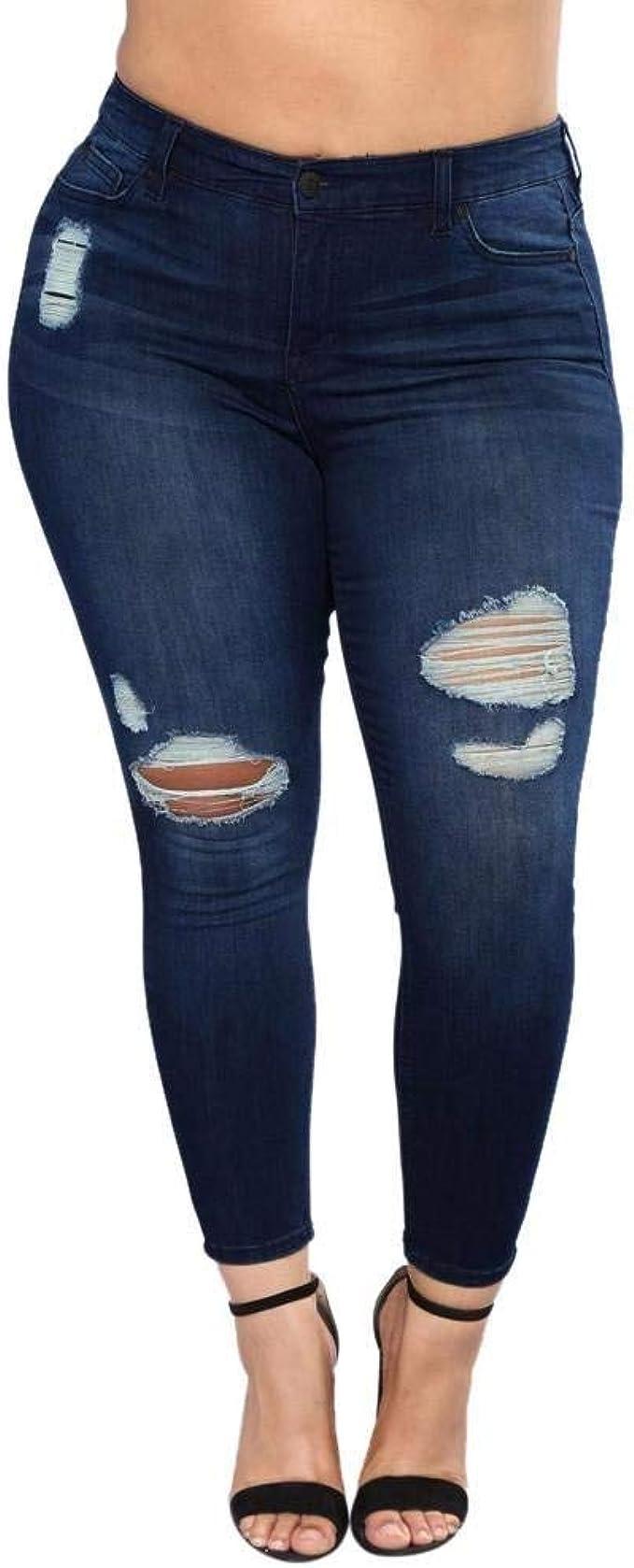 Bolawoo Pantalones De Mezclilla Rasgados Para Mujer De De Pantalones Mezclilla Moda Pantalones De Mode De Marca Mezclilla Flacos De Cintura Alta Pantalones De Agujero De Talla Grande Pantalones Amazon Es Ropa Y